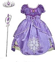 Familycrazy Princes Sofia Costume Dress with Tiara, Wand for Birthdays, Halloween, Parties,Children's Day