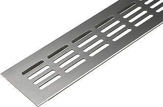 Ventilatierooster deur rooster roestvrij staal afzuigrooster aluminium | ventilatierooster hoekig | 300 x 60 mm | meubelro...