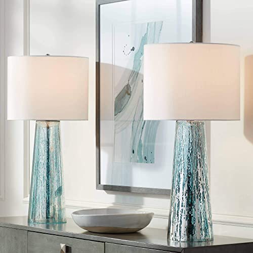 Marcus Coastal Table Lamps Set of 2 Mercury Glass Tapered Column White Drum Shade for Living Room Family Bedroom - 360 Lighting