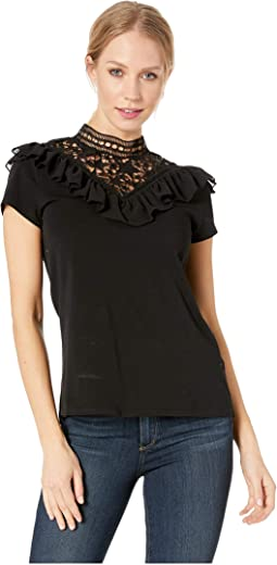 Aurra Joyous Mixed Lace Jersey Top