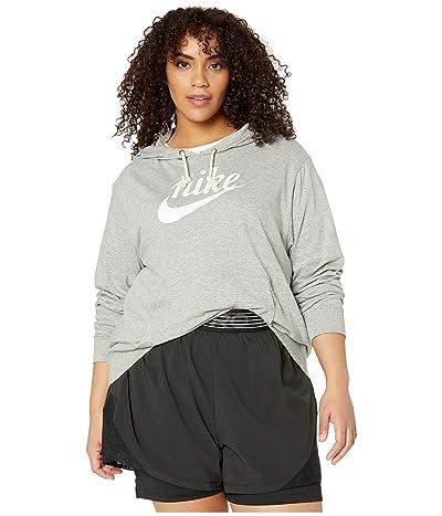 Nike Plus Size NSW Gym Vintage Hoodie HBR (Dark Grey Heather/Sail) Women