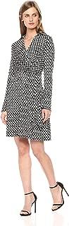 Women's Printed Faux Wrap Matte Jersey Dress