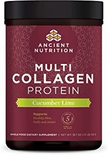 Ancient Nutrition Multi Collagen Protein Powder, Cucumber Lime Flavor, Formulated by Dr. Josh Axe, 5 Types of Collagen, Su...