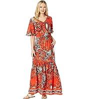 Short Ruffle Sleeve V-Neck Maxi Dress
