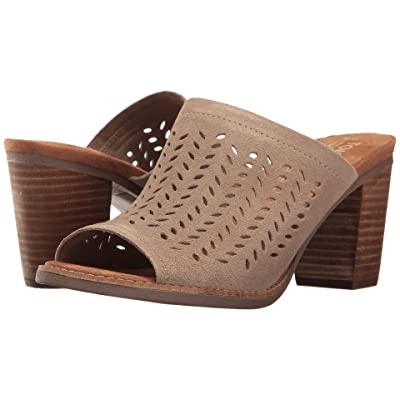 TOMS Majorca Mule Sandal (Desert Taupe Suede Perforated Leaf) Women