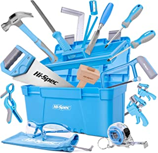 Hi-Spec 25 Piece Beginner Carpentry Tool Set with Tool Box, Wood Carving Tools, 3/4 inch..