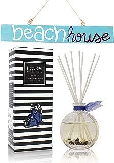 LOVSPA Beach House Reed Diffuser Oil Gift Set   Marine Grass, Sea Salt, Blue Lotus, Honeydew Melon, Jasmine & Aquatic Musk   Real Seashells in The Bottle!   Gorgeous Display for Your Ocean Home Décor