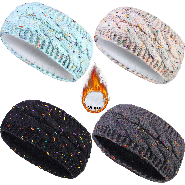 4 Pieces Winter Knitted Headband Woman Fuzzy Lined Warm Headbands Confetti Cable Headwrap Ear Warmer Gift (Light Blue, Beige, Black, Dark Gray)