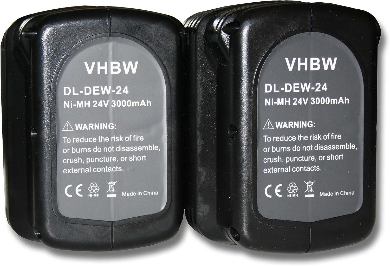 vhbw 2x baterías Ni-MH 3000mAh (24V) para herramientas DW007C2, DW007K, DW007K-2, DW007KH, DW007K-XE y Dewalt DE0240, DE0240-XJ, DE0241, DE0243.