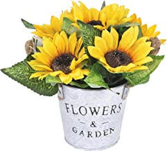 Artificial Sunflowers Pot, Silky Artificial Sunflower Metal Pot Bonsai, Artificial Flowers in Metal Potted, Artificial Sunflower Bouquet with Vase for Wedding Party Stage Centerpieces Windowsill Decor