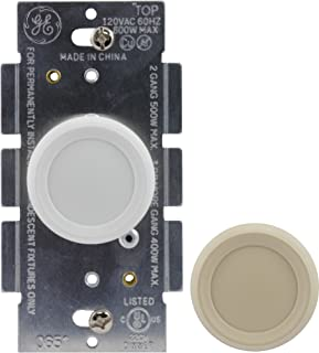 GE 3-Way Dimmer Switch, Push On/Off, Rotating Knob, Use with Dimmable LED and CFL and Incandescent Bulbs, Includes Two Knob Colors, UL Listed, White/Light Almond, 18020