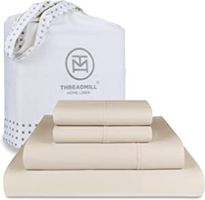 Threadmill Home Linen King-Size Sheets - 100% Pure Cotton 600 Thread Count, 4 Piece Sateen Weave Light Beige Bedding Set, Comfortable ELS Combed Cotton, Solid Sheets with Elasticized Deep Pocket