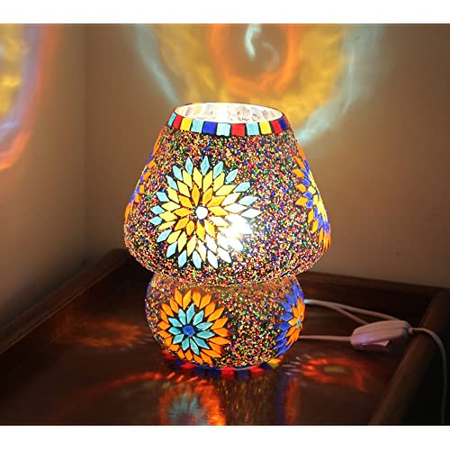 Tied Ribbons Multicolour Mosaic Style Dome Shaped Glass Table Lamp For Gift & Home Decor | Table Lamp In Living Room | Show Piece For Home