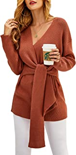 Womens Wrap Front Sweater Long Sleeve V Neck Tie Knot Knitted Pullover Dress