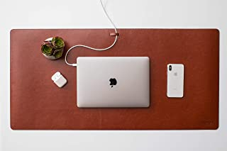 Leather Desk Pad with Cable Management (Saddle Brown 35