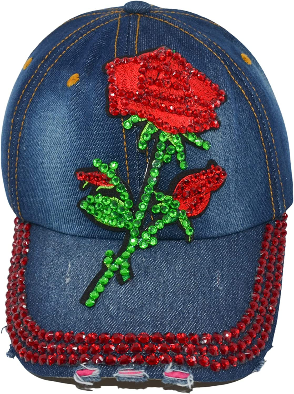 Popfizzy Women's Distressed Rhinestone Bejeweled Cotton Baseball Hat Sparkle Bling Cap (Red Rose)