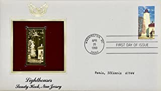 1990 - April 26 - Lighthouses - Sandy Hook, New Jersey - First Day of Issue - 25 cent stamp & 22kt Gold Replica - Collectible