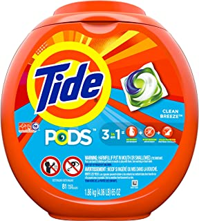 Tide Pods 3 in 1 Liquid Detergent Pacs, Ocean Mist Scent, 81 Count Tub (Packaging May Vary)