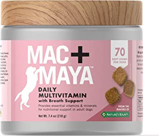 Mac + Maya Daily Multivitamins for Dogs, Dog Breath Freshener, With Vitamins, Minerals, Amino Acids, & Fatty Acids, Supports Fresh Breath & General Health of Dogs, 70 Soft Chews