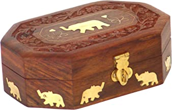 Super India Wooden Jewelry Box Octagonal Handcrafted Elephant Brass Inlay & Wood Carvings