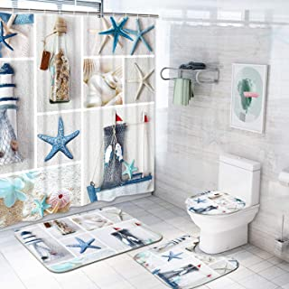 Claswcalor Nautical Shower Curtain Sets with Non-Slip Rugs, Toilet Lid Cover and Bath Mat, Marine Sail Curtain with 12 Hooks, Durable Waterproof Boat Beach Shower Curtain