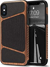 Tasikar Compatible with iPhone X Case/iPhone Xs Case Easy Grip Wood Grain with Nylon Fabric Leather Design Compatible with iPhone X and iPhone Xs (Wood & Leather)