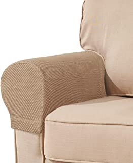 subrtex Spandex Stretch Fabric Armrest Covers Anti-Slip Furniture Protector Armchair Slipcovers for Recliner Sofa Set of 2 (Khaki)