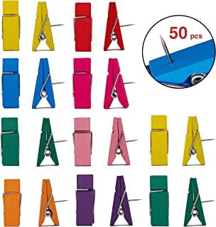 VBLab 50 Count Never Falling Off Push Pin Clips (Multicolor Large)