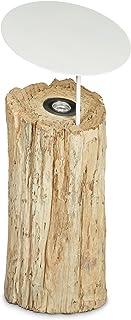 Relaxdays 10020063_59 Lampe à poser au sol lampe sur pied en bois avec LED intégrée décoration tronc d'arbre abat-jour et ...
