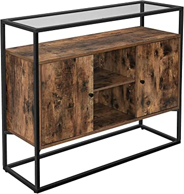 VASAGLE Storage Cabinet, Entryway Sofa Table with Tempered Glass Top and Open Compartments, hallway, Living Room, Rustic Brow