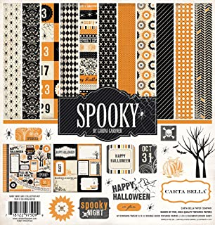 Echo Park - Spooky Halloween 12x12 Scrapbooking Kit - Item CBSP32016TM - Copyright 2015 - Features Spiders, Skulls, Pumpkins, Trees, and Bats with Damask, Chevron, and Polka Dot Patterns