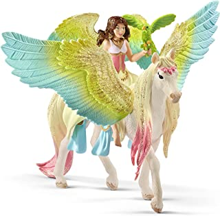 SCHLEICH bayala Fairy Surah with Glitter Pegasus Imaginative Toy for Kids Ages 5-12