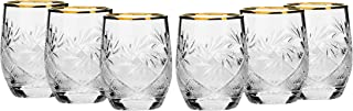 Set of 6 Russian Cut Crystal Shot Glasses 24K Gold Rimmed 1.7 Oz Vodka Shooters - Old-Fashioned Hand Made Glassware