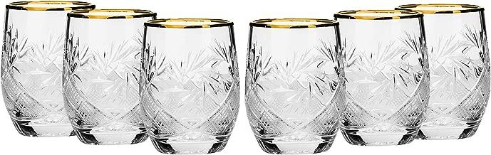 SET of 6 Russian Cut Crystal Shot Shooter Glasses 24K Gold Rimmed 1.7 Oz. Vodka Liquor Old-fashioned Glassware Hand Made