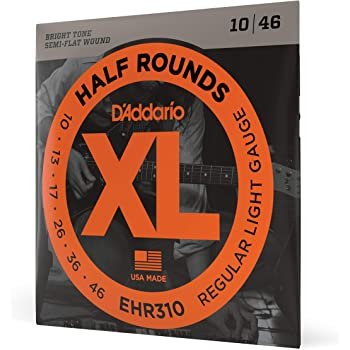 D'Addario EHR310 Half Round Electric Guitar Strings, Regular Light, 10-46