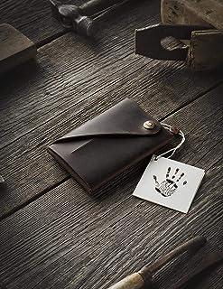 Cartera/tarjetero Minimalista de cuero | Wood Brown, Monedero marrón vintage de primera calidad, Cartera Slim única para h...