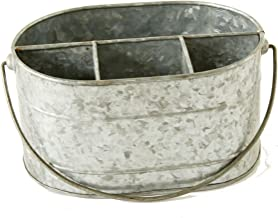 Creative Co-op DA6577 Metal Bucket with Compartments & Zinc Finish