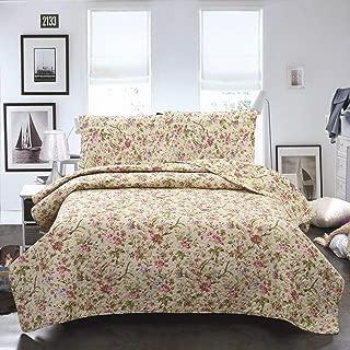 Jml Printed Bedding Quilt Coverlet Set – 3 Piece Ultrasonic Microfiber Bedspread – Soft, Lightweight, Hypoallergenic, Wrinkle Resistant (King(90