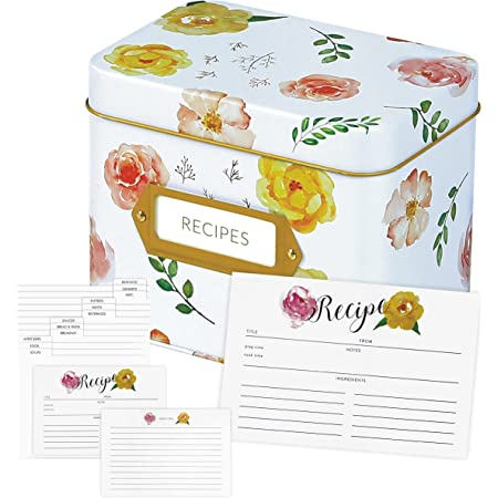 Recipe Box With Cards And Dividers – 100 4×6 recipe cards and 20 dividers set - Recipe Card Box 4x6 - Recipe Tin box - Gift Box & Recipe Organizer – Decorative Tin Box and Cards Set – Metal Recipe Box