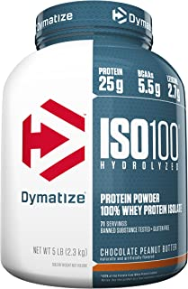 Dymatize ISO100 Hydrolyzed Protein Powder, 100% Whey Isolate Protein, 25g of Protein, 5.5g BCAAs, Gluten Free, Fast Absorbing, Easy Digesting, Chocolate Peanut Butter, 5 Pound