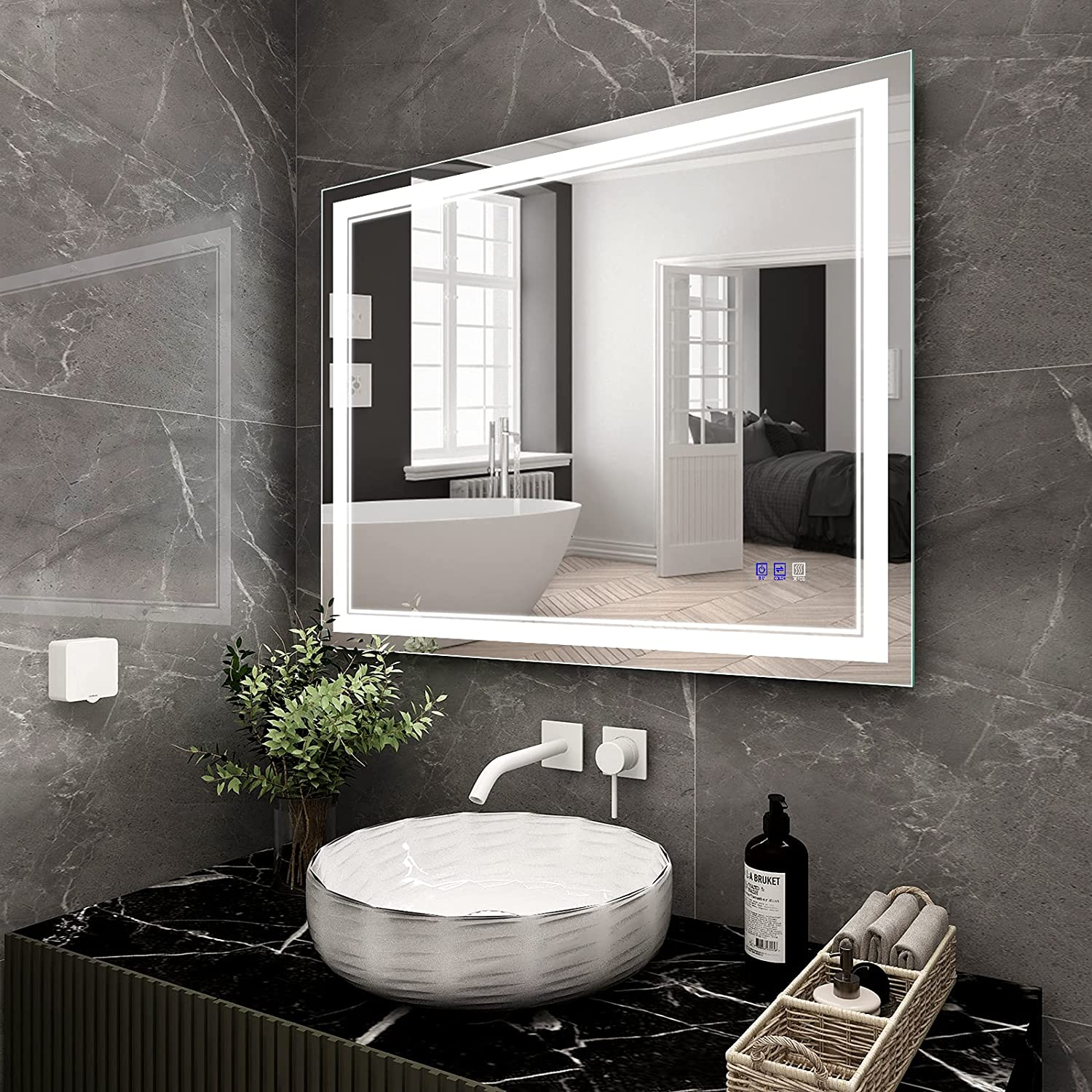 BATHTECHY 40x32 Inch Led Limited time cheap sale lighted Mirror Wall Ranking TOP12 L bathroom Mounted