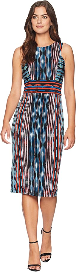 Painted Ikat Sleeveless Jersey Sheath