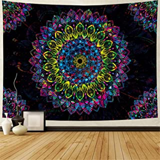 Heopapin Psychedelic Tapestry Mandala Tapestry Hippie Bohemian Tapestry Indian Tapestry Colorful Flower Tapestry Wall Hanging Art for Room Decor (XLarge, Mandala)