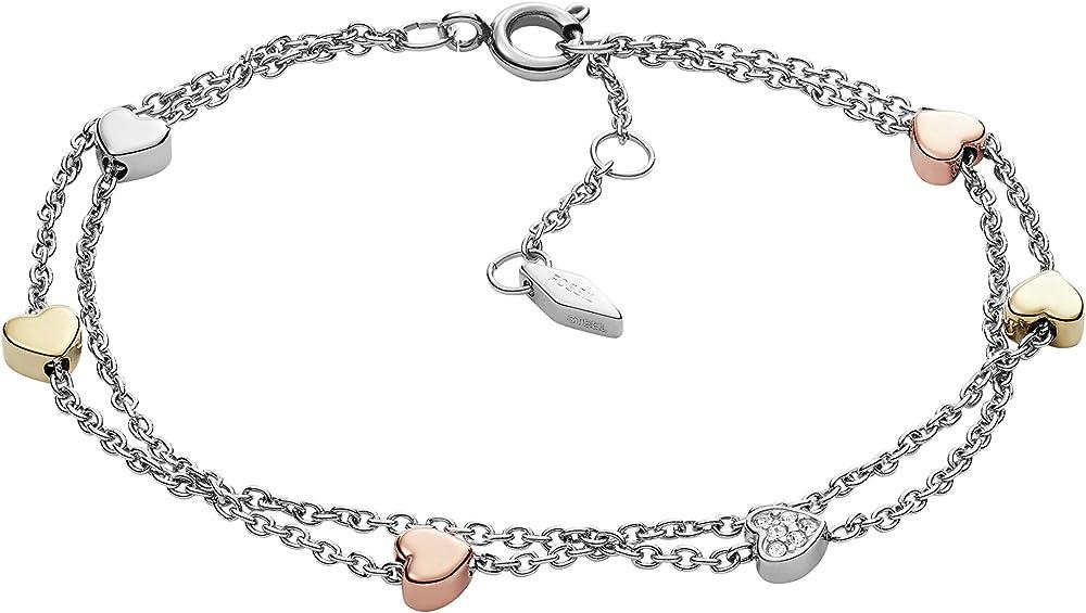 Fossil,bracciale da donna,in acciaio inossidabile di colore silver e acciaio inossidabile colore oro rosè JA6933040