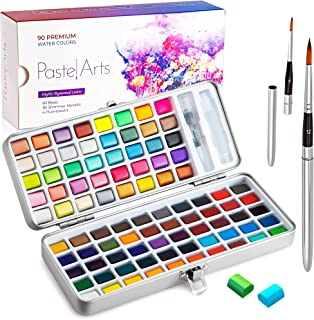 Pastel Arts Watercolor Paint Set with Travel Brushes, 90 Vibrant Colors including Metallic and Neon Premium Art and Craft ...