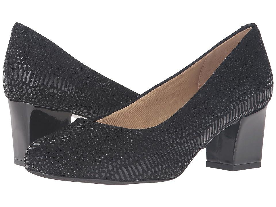 Trotters Candela (Black Raised Lizard) High Heels