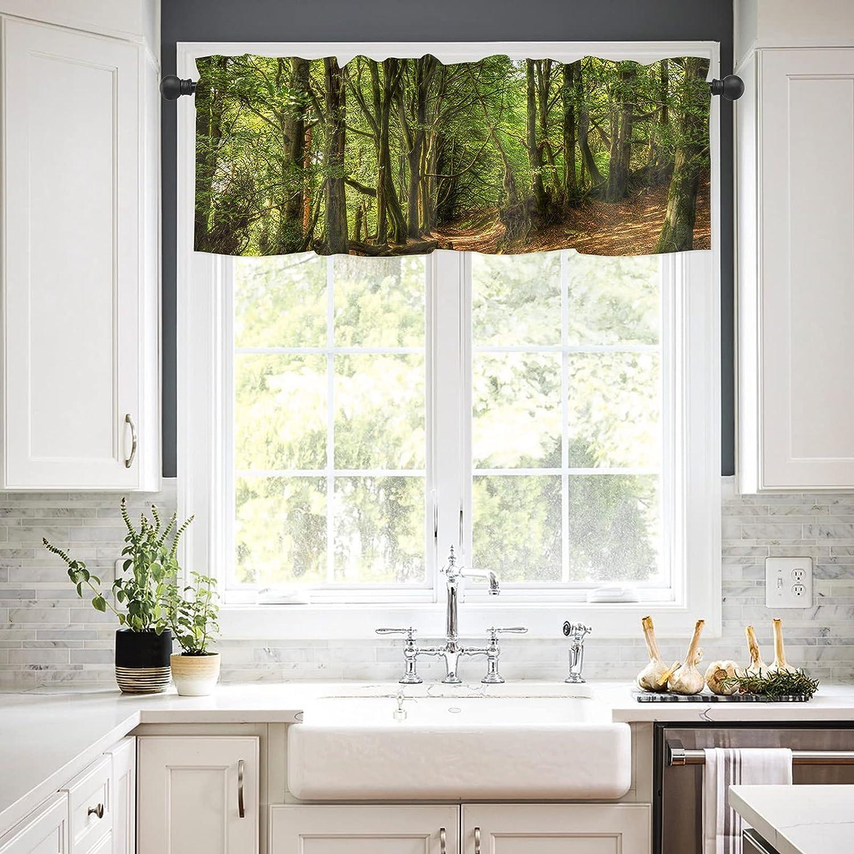 Rod 2021 autumn Milwaukee Mall and winter new Pocket Window Valances Curtains Rainforest for Kitchen Green