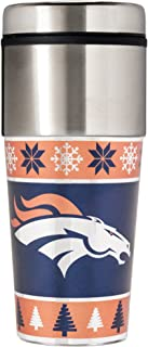 Great American Products NFL Denver Broncos Ugly Sweater Travel Tumbler, Orange, One Size/16 oz