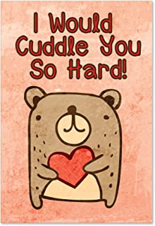 NobleWorks - Cuddle You So Hard - Adorable, Funny Bear Valentines Card with Envelope 2197