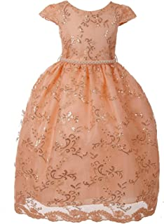 b6b0a5730b Cinderella Couture Little Girls Champagne Glitter Hi-Low Flower Girl Dress  2T-6